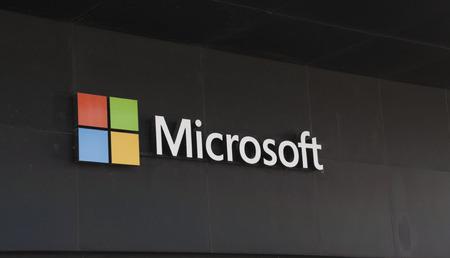 Amsterdam, Nederland-5 mei 2016: Microsoft Corporation, een Amerikaans bedrijf. Microsoft ontwikkelt computer-gerelateerde producten
