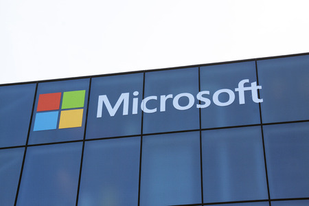 microsoft: Amsterdam, Netherlands-may 5, 2016:  Microsoft develops computer-related products letters on a wall Editorial