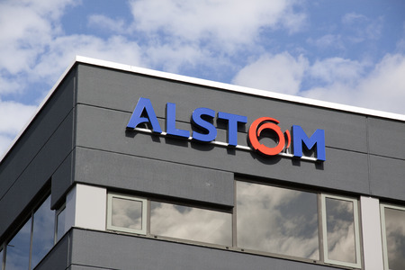 company merger: Amsterdam, Netherlands-august 8, 2016: facade of alstom, Alstom is a multinational company which is mainly active in the field of energy and transport