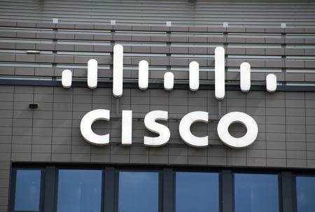Amsterdam, Paesi Bassi-14 agosto 2016: lettere Cisco su una parete