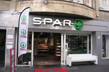 spar: Amsterdam, Netherlands-august 16, 2016: facade of a Spar supermarket Editorial