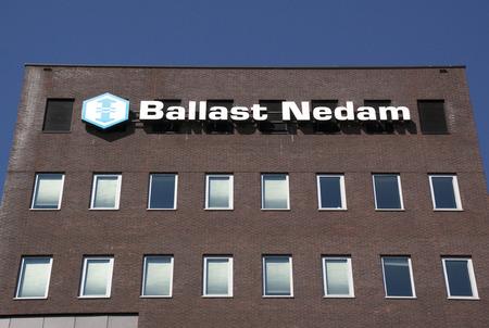 ballast: Amsterdam, Netherlands-august 18, 2016: Letters Ballast Nedam on a wall,Ballast Nedam is a major Dutch construction company Editorial