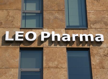 pharma: Amsterdam, Netherlands-august 26, 2016: letters leo pharma on a building