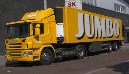 jumbo: Amsterdam, Netherlands-august 31, 2016: jumbo truck transporting food to a supermarket