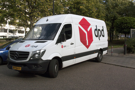 Amsterdam, Netherlands-october 3, 2016: DPD delivery truck in street in amsterdam