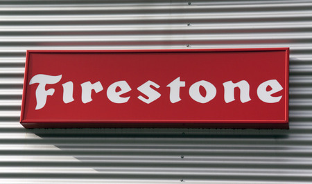 Amsterdam, Netherlands-october 3, 2016: letters firestone on the wall of a car garage