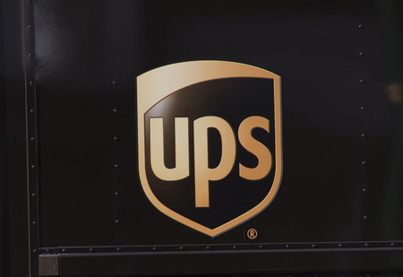 Amsterdam, Netherlands-october 3, 2016:  UPS sing on a truck in Amsterdam Editorial