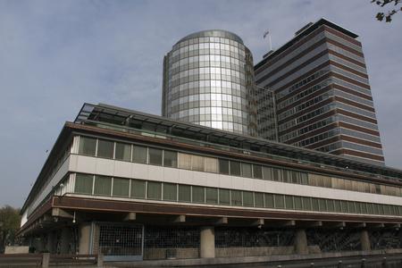 Amsterdam, Nederland-12 november 2016: De bouw van de Nederlandse nationale bank in amsterdam Stockfoto - 65530597