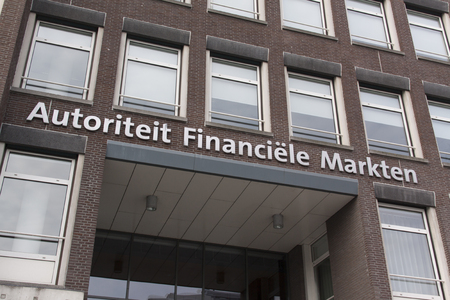 Amsterdam, Netherlands-November 12, 2016: letters autorities financial market on a building in Amsterdam