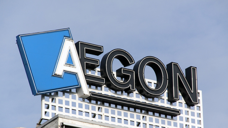 Amsterdam, Netherlands-November 12, 2016: letters aegon on a building in Amsterdam