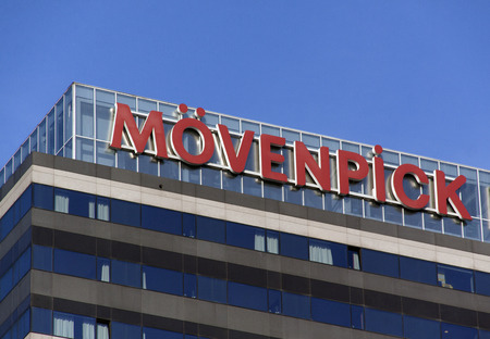 Amsterdam, Netherlands-october 31, 2016: Letters movenpick on a hotel in amsterdam Editorial