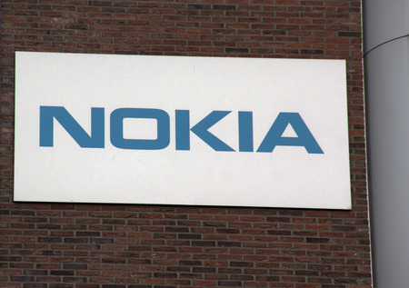 Amsterdam, Netherlands-october 16, 2016: letters Nokia on a wall in Amsterdam