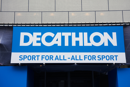 Amsterdam, Netherlands-february 2, 2017: letters decathlon on a wall In Amsterdam Editorial