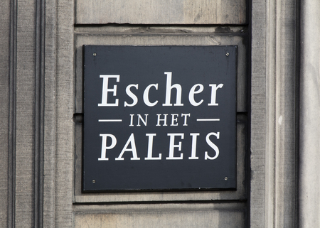 Amsterdam, Netherlands-february 2, 2017: Letters escher in the palace on a wall