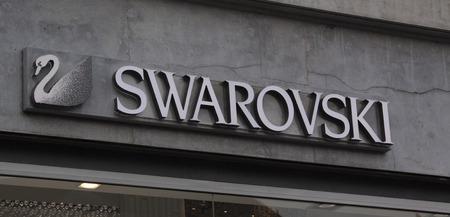 Amsterdam, Netherlands-februari 6, 2017: letters swarovski on a facade in amsterdam
