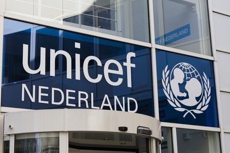 Den Haag, Nederland-15 februari 2017: Unicef-kantoor in Den Haag in Nederland Redactioneel