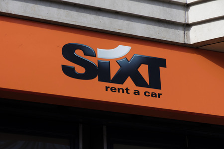 Amsterdam, Netherlands-march 5, 2017: letters sixt on a building in amsterdam Editoriali