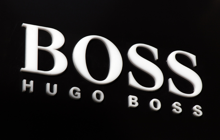 Amsterdam, Netherlands-march 5, 2017: letters hugo boss on a wall in Amsterdam