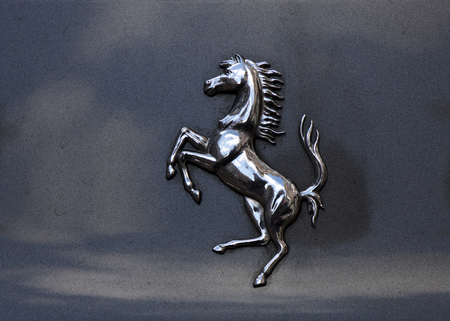 Amsterdam, Netherlands-march 5, 2017: ferrari horse on a car in Amsterdam