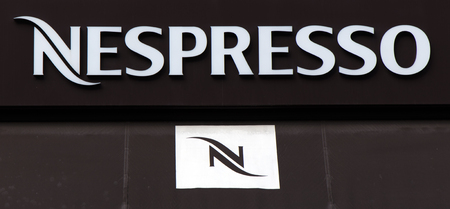Amsterdam, Netherlands-march 5, 2017: Letters nespresso on a wall in Amsterdam