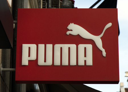 Amsterdam, Netherlands-march 5, 2017: letters puma on a sign in amsterdam