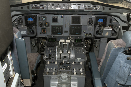 Amsterdam, Netherlands-march 15, 2017: Cockpit of an klm cityhopper airplane at schiphol airport
