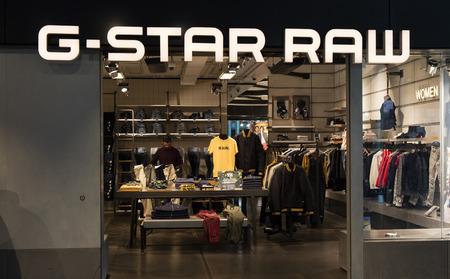 Amsterdam, Nederland-maart 15, 2017: G-ster rauwe winkel in Amsterdam schiphol