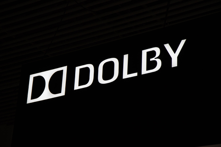 Amsterdam, Netherlands -september 15, 2017: Dolby logo and letters on a black wall