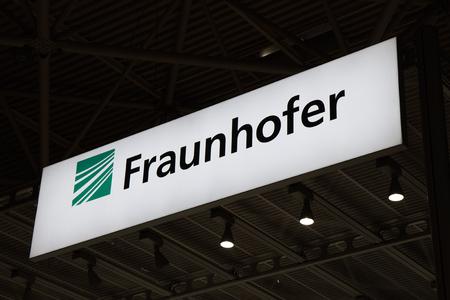 Amsterdam, Nederland - 15 september, 2017: Fraunhofer-brieven bij de IBC-overeenkomst in Amsterdam