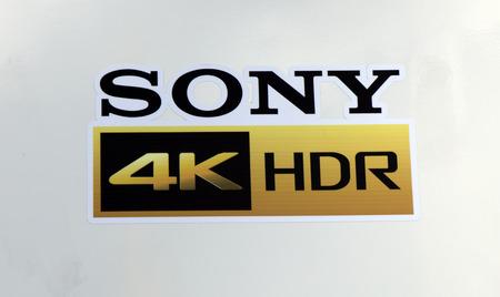 Amsterdam, Nederland 15 september 2017: Sony 4k HDR brieven op een witte muur