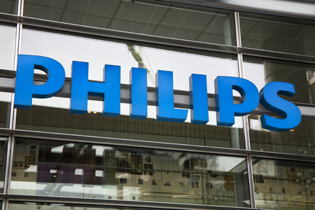 Amsterdam, Netherlands -october 1, 2017: Letters Philips on a wall of a building in amsterdam