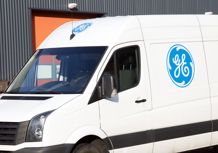 Amsterdam, Netherlands -january 14, 2018: General electric sign on a car in Amsterdam