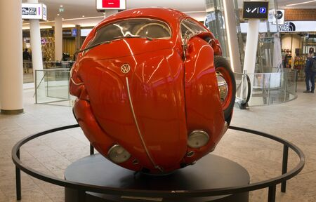 Amsterdam, Netherlands 15 june 2019;Rolled up beetle in a mall in Amsterdam Editorial