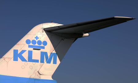 Cargo space of a boeing 747 : Tail of an KLM aircraft in the aviodrome museum