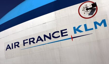 lelystad, Netherlands 31 october 2019; Letters Air France KLM on an airplane in the aviodrome museum