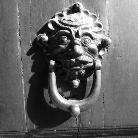 door knocker: A metal door knocker