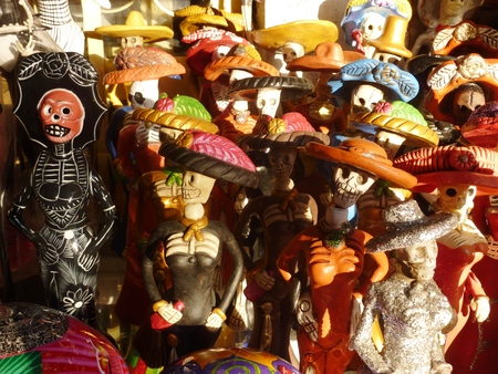 Catrinas and other ceramic skeletons from Mexico Stock fotó