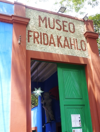 Entrance of the Blue House in Coyoacan Mexico City where painter Frida Kahlo lived