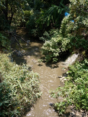 Rio Magdalena the only river within Mexico City is heavily polluted 版權商用圖片