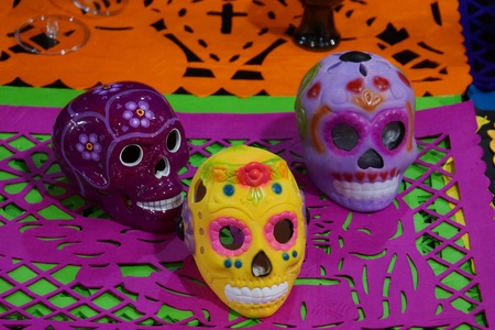 Colorful skulls for the Day of the Dead festival in Mexico