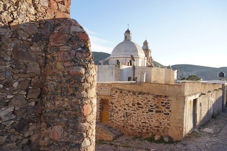 A church in the ghost town of Real de Catorce Mexico Stock Photo