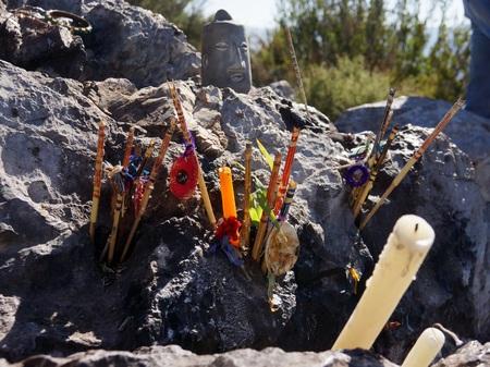 offerings: Huichol offerings in Wirikuta Real de Catorce Mexico