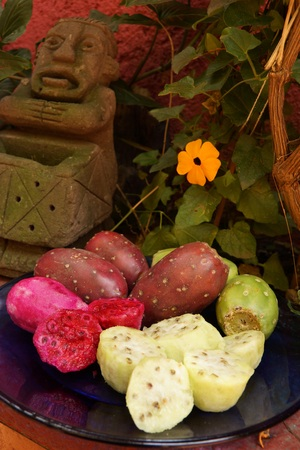 Prickly pears or tunas are a delicious tropical cactus fruit Stock Photo