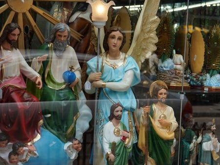 shop window: Saints in a religious shop window in Mexico