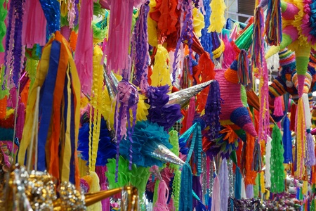 Colorful pinatas for celebrations in Mexico