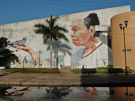 メキシコのカンペチェの美しいマヤ落書き壁