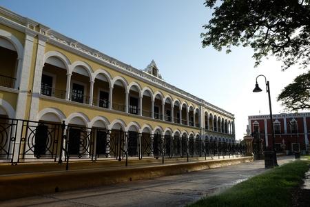 政府の建物都心のカンペチェ メキシコ ソカロ広場