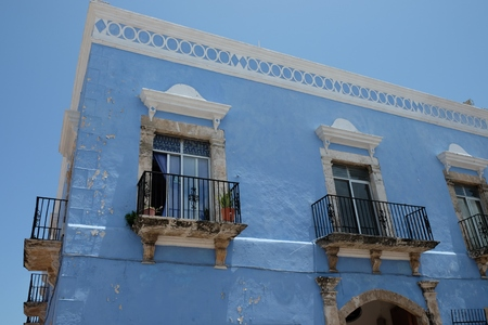 A colorful house in the beautiful city of Campeche Mexico Stock Photo