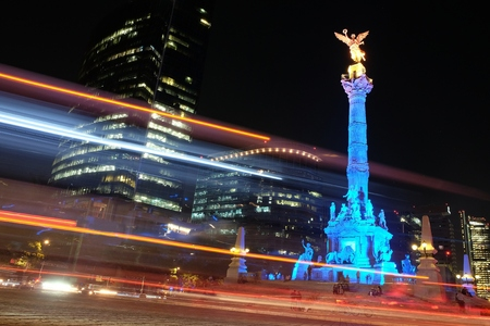 The Angel of Independence on Reforma Avenue in Mexico City at night