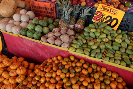 Prickly pears and other tropical fruit at a market in Mexico